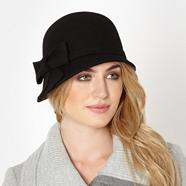 Designer black applique bow wool cloche hat