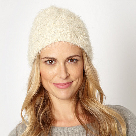RJR.John Rocha - Designer cream fluffy sequin knit beanie hat