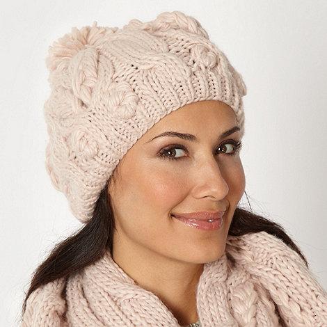 RJR.John Rocha - Designer pale pink cable knitted hat