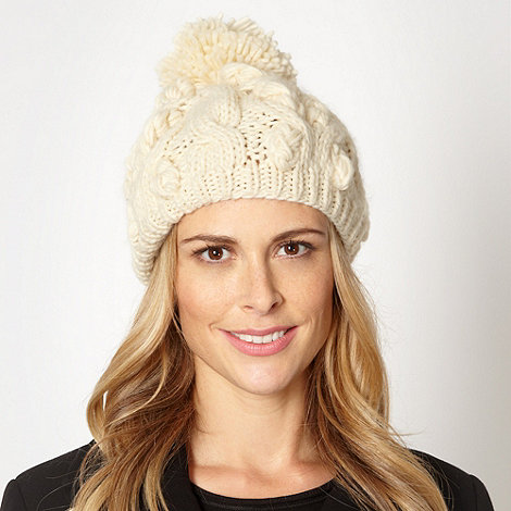 RJR.John Rocha - Designer cream plaited knit beanie hat