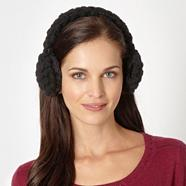 Designer black bobble knit ear muffs