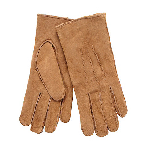RJR.John Rocha - Camel suede borg three point gloves