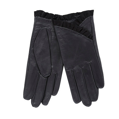 RJR.John Rocha - Black leather ruffle trim gloves