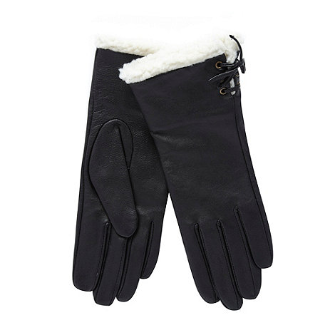 RJR.John Rocha - Black leather fleece lined gloves