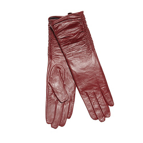 RJR.John Rocha - Designer dark red leather longline ruched gloves