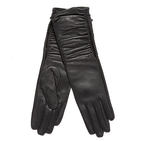 RJR.John Rocha - Designer black leather ruched longline gloves