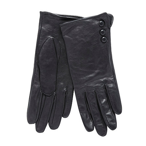 RJR.John Rocha - Black leather button cuff gloves
