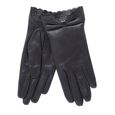 RJR.John Rocha - Black leather embossed trim gloves