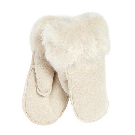 RJR.John Rocha - Designer cream faux fur suedette mittens