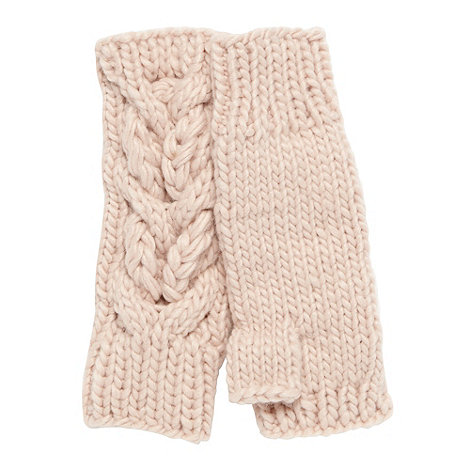 RJR.John Rocha - Designer pale pink cable knit hand warmers