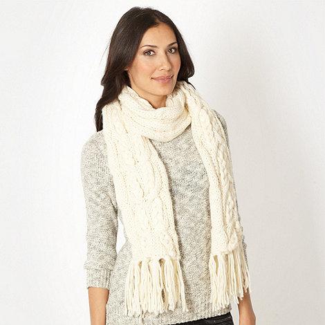RJR.John Rocha - Designer cream cable knitted scarf