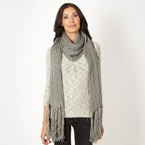 RJR.John Rocha - Grey cable knitted scarf