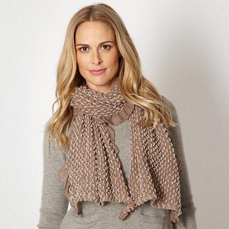 RJR.John Rocha - Designer taupe weave knit ruffled scarf