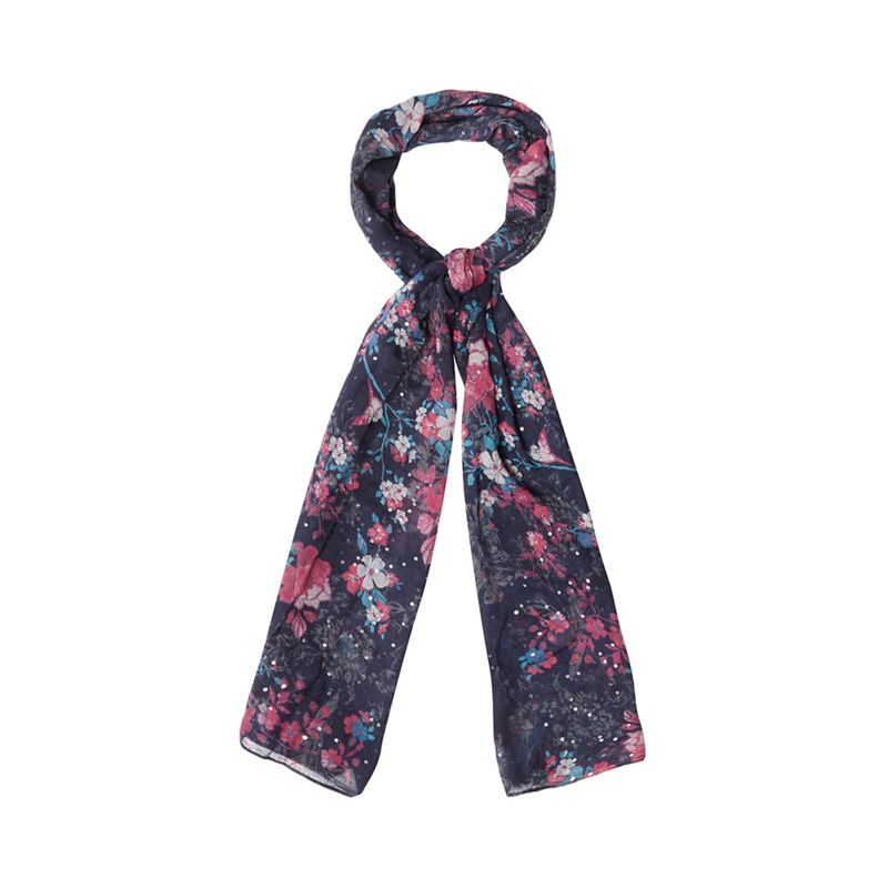 Mantaray Multi-coloured floral sequinned scarf