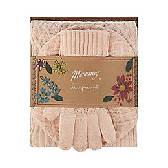 Mantaray - Pink fine cable knit hat, gloves and scarf gift set