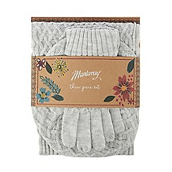 Mantaray - Grey fine cable knit hat, gloves and scarf gift set