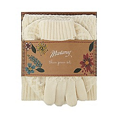 Mantaray - Cream fine cable knit hat, gloves and scarf gift set