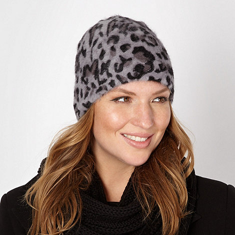 Star by Julien Macdonald - Designer grey animal beanie hat