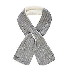 Mantaray - Grey knitted borg scarf