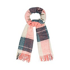 Mantaray - Cream brushed block checked scarf