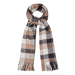 Mantaray - Pink woven zigzag checked scarf