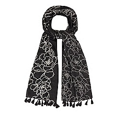 Mantaray - Black floral embroidered scarf