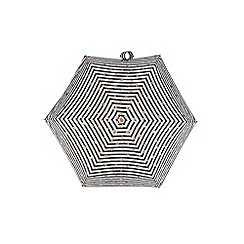 Totes - Compact miniflat 5 section umbrella with a stripe and heart print