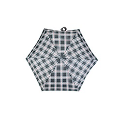 Totes - Compact miniflat 5 section umbrella with a grey & pink check print