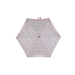 Totes - Compact miniflat 5 section umbrella with a right as rain pink print