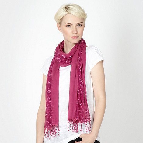 Mantaray - Dark pink floral net scarf