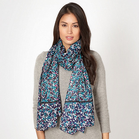 Mantaray - Dark blue ditsy floral scarf