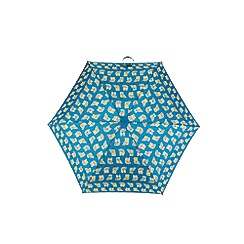 Totes - Compact round 5 section umbrella with a turquoise owl print and 3d owl case