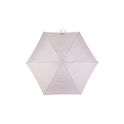 Totes - Compact round 5 section umbrella with a pink dot print and 3d scottie dog case