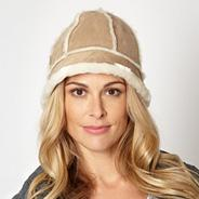 Natural faux fur lined suedette hat