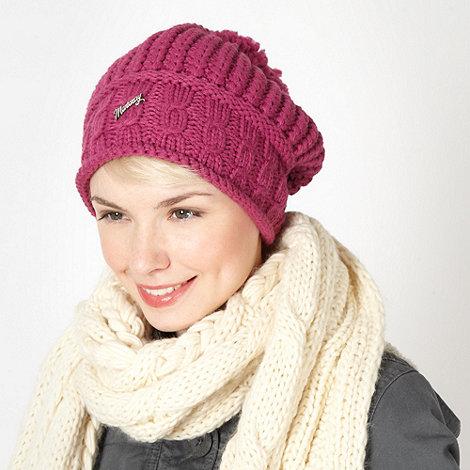 Mantaray - Dark pink slouched knit beanie hat