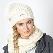 Cream slouched knit beanie hat