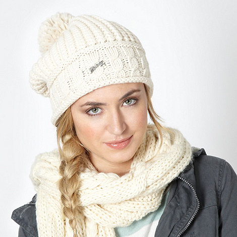 Mantaray - Cream slouched knit beanie hat
