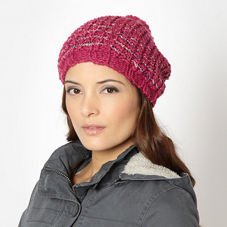 Mantaray - Pink boucle link knit beanie hat