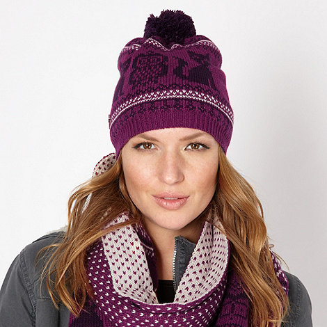 Mantaray - Purple cat and owl knit beanie hat