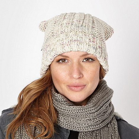 Mantaray - Cream textured knit beanie hat