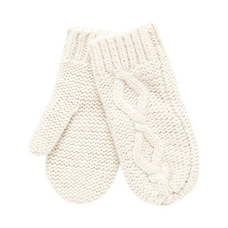 Mantaray - Cream cable knit mittens