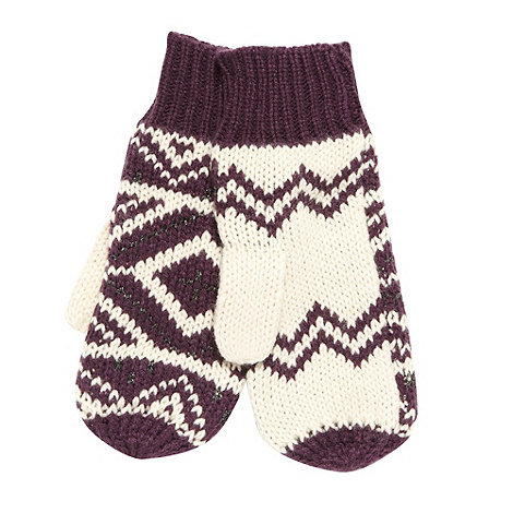Mantaray - Purple diamond knit mittens