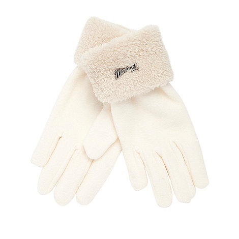Mantaray - Cream fleece cuff gloves