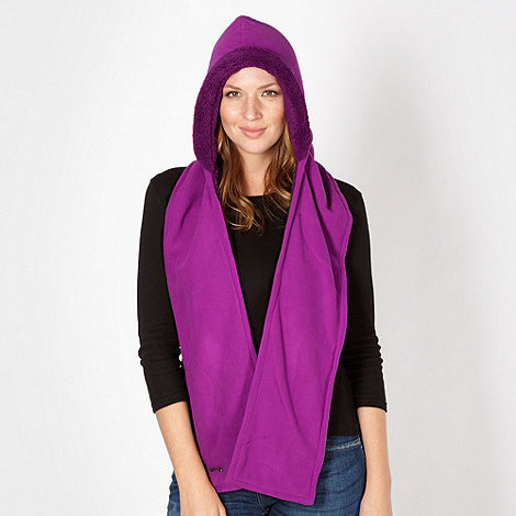 Mantaray - Dark pink hooded fleece scarf