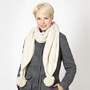 Cream reverse cable knit scarf