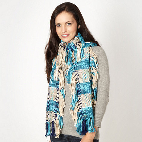Mantaray - Turquoise fringe checked scarf