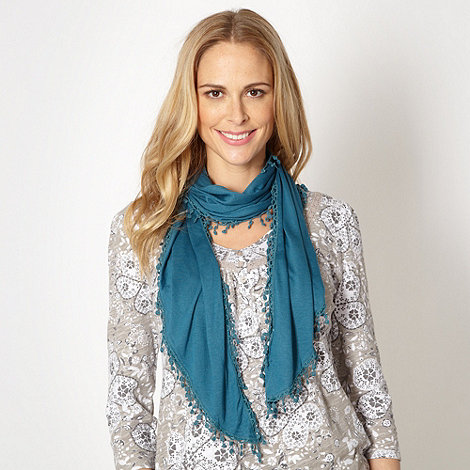 Mantaray - Dark turquoise crochet border scarf