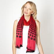 Red graduated spot pom pom scarf