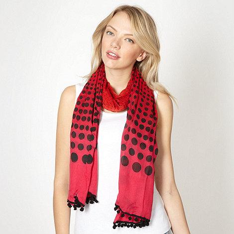 Red Herring - Red graduated spot pom pom scarf