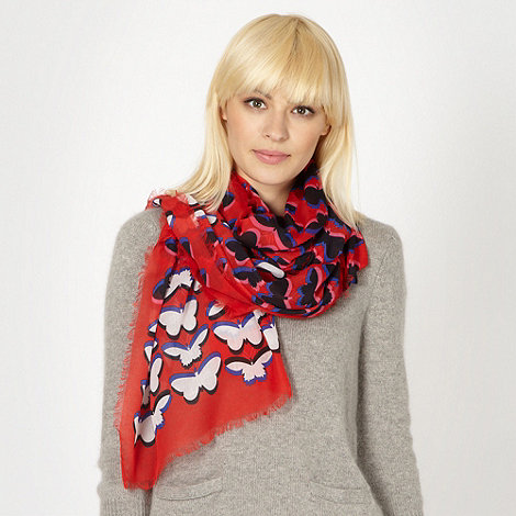 Red Herring - Red butterfly patterned scarf